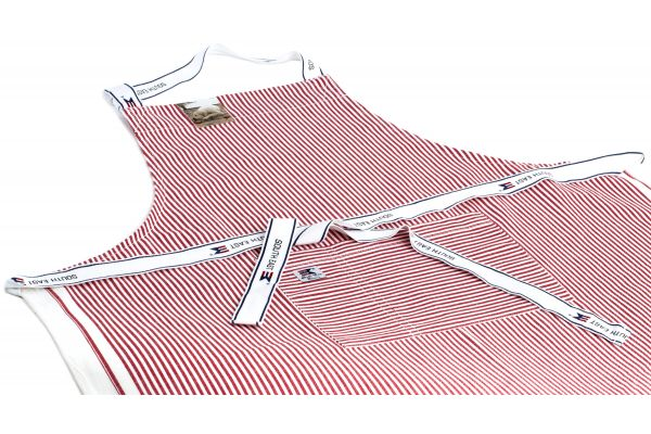 Striped Oxford Apron Rödvitrandig