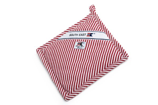 Striped Oxford potholder Rödvitrandig